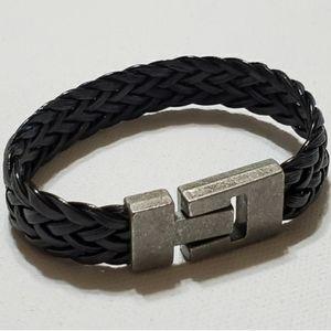 Other - Men's Black Braided Vegan Leather Bracelet w/Anti
